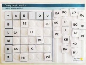 Jiný svět Český jazyk - slabiky, logická tabulka na třídění (66 kartiček)
